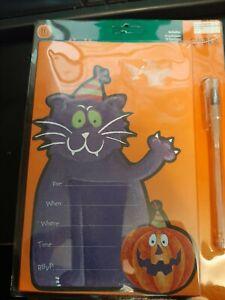 30 Black Cat & Pumpkin Halloween Party Invitations and envelopes NEW