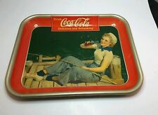 VINTAGE 1940 COCA-COLA SERVING TRAY WITH GIRL FISHING ON DOCK PIN-UP ART