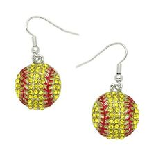 Softball Fashionable Earrings - Hand Painted - Fish Hook - Sparkling Crystal