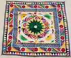 """35"""" x 32"""" Vintage Rabari Throw Embroidery Ethnic Tapestry Tribal Wall Hanging"""