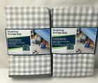 """2- Canvas Under Bed Storage Bag 42"""" x18""""x 6"""" Clear Zipper Top Gingham Grey White"""