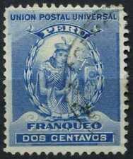 Peru 1896-1900 SG#337, 2c Blue, Atahualpa Used #E1258
