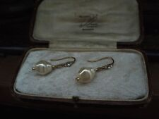 Vintage 10 x 12mm Cream Baroque Pearl & Crystal Drop Hook Pierced Earrings