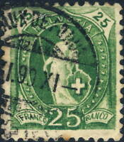 SUISSE / SWITZERLAND - Mi.59A 25c yellow-green p.11-3/4 used CHAUX-DE-FONDS 1890