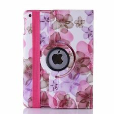 360 Degree Rotation Floral Leather Case Cover For Apple iPad 2 3--Pink Flower