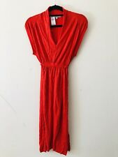 Gap Orange V-neck Summer Maxi Dress Stretch Tie Waist Size S A0725
