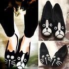 Popular Woman Cartoon Cat Dot Dog Cute Pattern Women Loafers Flat Leather Shoes