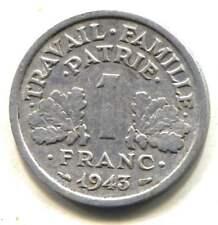 France 1943 One Franc Coin  - RF Republiove Francaise  - 1 Franc