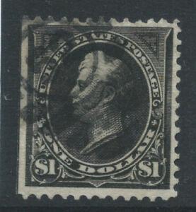 USA 1895 SG279 $1 black Type 1 watermark U  straight edge good used. Cat £120