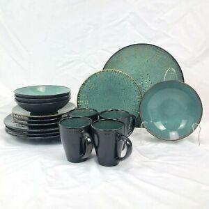 16 PIECE SET MIKASA GOURMET BASICS DAYMON JADE DINNERWARE DINNER SALAD BOWL CUP