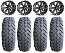 """MSA Black Kore 14"""" UTV Wheels 31"""" MotoHammer Tires Kawasaki Mule Pro FXT"""