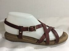 Bass Weejuns Sandals Brown Leather Strappy Open Toe Shoes Womens 7 M Ankle Strap