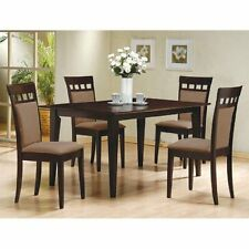 5pc Espresso Dining Room Kitchen Set Table & 4 Microfiber Hyde Chairs 5 piece