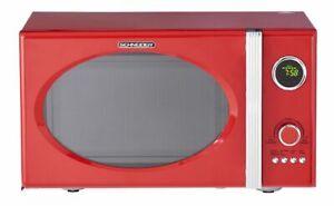 Schneider Microwave Red Retro 800W Grill 1000W 777.7oz Chrome Flame Shabby Chic