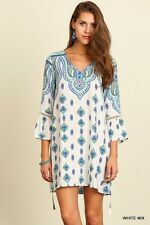 UMGEE White Boho Print Tunic Shirt Peasant Babydoll V-Neck Summer Womens Dress M