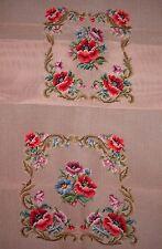 EP 29849 Vintage Floral Bouquet 2pc Chair Seat Set Preworked Needlepoint Canvas