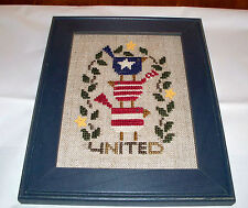 BENT CREEK COMPLETED CROSS STITCH PICTURE UNITED WE STAND PATRIOTIC BIRDS L@@K
