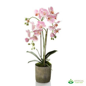 Artificial Fake Plants Pink Orchid in Terracotta Pot 65cm