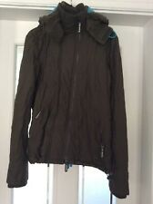 Ladies Khaki Superdry Wind Cheater Jacket with hood Size XS Good Condition