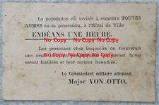 Très Rare document Guerre 14-18 WW1 Charleroi - Remise des armes