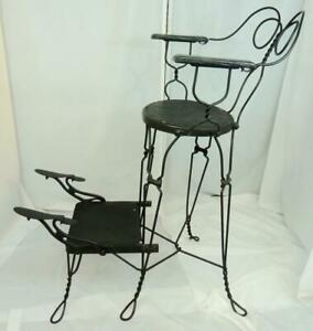 Antique Twisted Iron Shoe Shine Chair Nice Condition