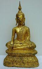 Antique Gold Gilt Bronze Seated Buddha Chinese Thailand Siam Bermese Gilded