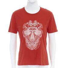 ALEXANDER MCQUEEN red cotton white skull dragon illustration print t-shirt M