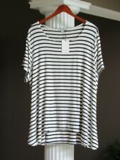 GREEN ENVELOPE Los Angles Navy Blue Off- White Stripe Top Shirt Size 3X NWT