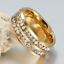 Men Women Fashion Crystal Stainless Steel Ring Band Gold Silver Black Size 6-13