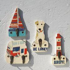 Summer Seaside COAT HOOKS - set of 4,Dog,Sailing Boat,Lighthouse,Fish & Chips