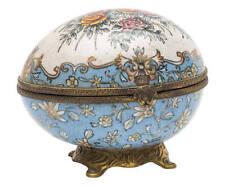 Portagioie Uovo in porcellana ed ottone Soprammobile Stile Inglese fine '800
