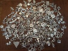 50 PC LoT ~ GRaB BaG MIX ~ HEARTS CROSS CROWNS KEYS & FLOWERS ~ SiLvER ChArMs