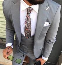 Diseñador Negocios Gris Oscuro Plata Traje de hombre chaqueta chaleco Entallado