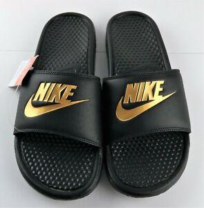 Nike Benassi JDI Mens Size 11 Black Metallic Gold Slip On Slides Sandals 343880