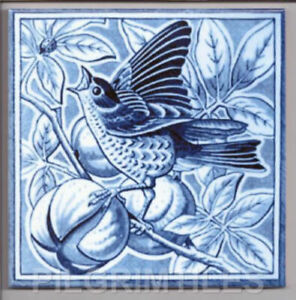 Victorian Bird Tile Fireplace Kitchen Bathroom Ceramic or Porcelain ref 08 blue