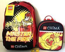 "Lego Chima 16"" Backpack & Lunch Box Bag School Travel Boys Girls Set NWT"