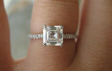 2.00 Ct. Natural Asscher Cut Pave Diamond Engagement Ring - GIA Certified