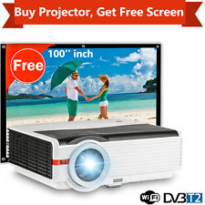 1280*800 Android DVB-T2 TV Projector Smart Home Cinema+ HD 100'' Portable Screen