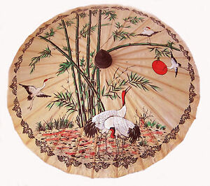 """Hand-painted Thai paper/wood PARASOL 35"""" diametar summer holiday fancy dress new"""