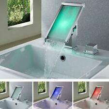 LED Waterfall Colors Changing Bathroom Basin Mixer Sink Faucet