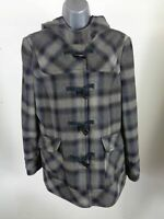 WOMENS DOROTHY PERKINS BLUE/GREY CHECKED BUTTON UP DUFFLE COAT HOODED UK 14