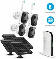 1080P Wireless WiFi Security Camera System Battery Solar Panel Powered 4CH 128G