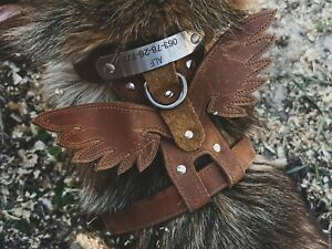 Leather dog harness  + Personalized tag