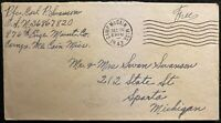 """1943 ***WWII*** ~CAMP McCAIN~ MISSISSIPPI POSTAL COVER+""""FREE"""" POSTAGE!  NOTABLE!"""