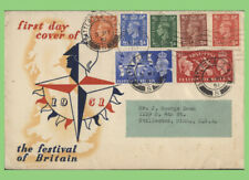 G.B. 1951 Festival; set & KGVI Low Values on illust. First Day Cover, Battersea