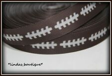 "1YD 7/8""  FOOTBALL FACE WITH STITCH FOR CRAFTS HAIRBOW GROSGRAIN RIBBON BROWN"