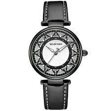 Taylor Cole Lady Women Full Black Fashion Echo Analog Leather Wrist Quartz Watch