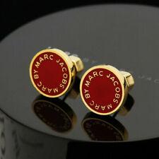 MARC BY MARC JACOBS Enamel Logo Disc Stud Earrings In Red/Golden