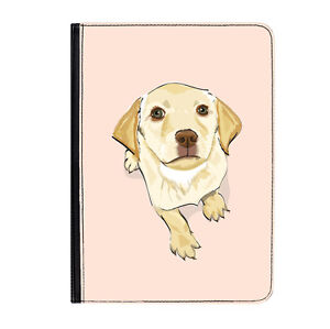 """Labrador Dog Puppy Pink Cute Universal 7"""" Leather Flip Case Cover"""