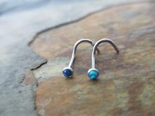 Lot of 2 Fire Opal Nose Ring Studs in 20 Gauge Surgical Steel Blue & Turquoise